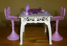 Barbie Furniture Pink Purple Chairs Bow Tie Stools  with Dinner Table and Acc.