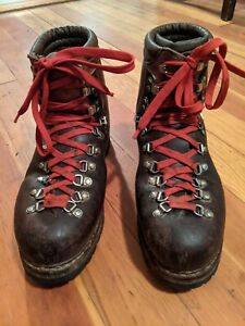 Vintage Lowa Mountaineer Leather Hiking Boots Men's Size M 10 Made in Germany