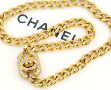 CHANEL CC Turnlock Chain Necklace Rhinestone Gold Tone Vintage v1812