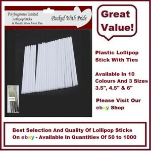 WHITE PLASTIC LOLLIPOP STICKS / SWEETS / CAKE POPS / LOLLIES / CRAFTS WITH TIES