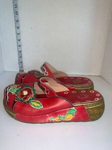 Socofy Women Red vintage whimsical leather hallow out shoes sz 39 backless clog