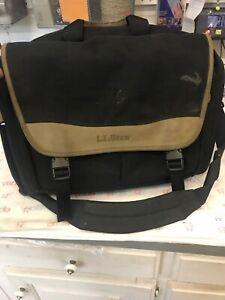 Vintage LL Bean Soft Black Brown Canvas Nylon Leather Messenger Bag Briefcase