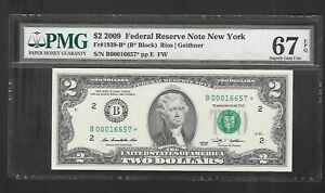 2009 $2 FRN...NEW YORK STAR NOTE...PMG 67 SUPERB GEM UNC