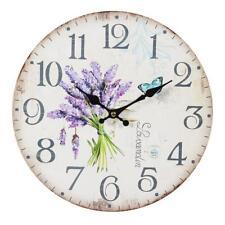 G1107 : Lavande Horloge murale style maison de campagne, romantique montre avec
