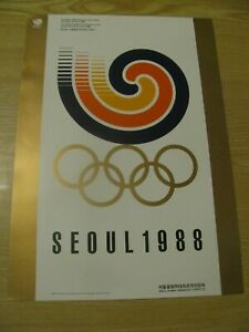 1988 SEOUL KOREA OLYMPIAD OLYMPIC SYMBOL WITH RINGS ORIGINAL POSTER 14 X 10 INCH