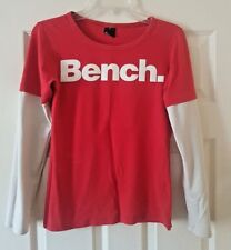 Bench Ladies Red Long Sleeve Cotton Logo T Shirt Top Size M