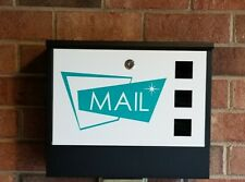 Mid Century Modern Style Mailbox in Black White w/ Decal - Atomic Awry Quad Star