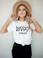 BLESSED MAMA TSHIRT Mothers Day Gifts idea  for her mummy mum funny T-shirt 352