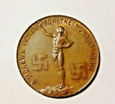 """Vintage 1931 MOHAWK TRAIL Souvenir """"Good Luck"""" Coin Old Deerfield Conference"""
