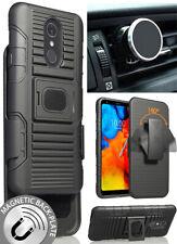 Black Grip Case + Belt Clip Holster + Magnetic Car Mount for LG Stylo 4 Q Stylus