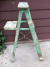 Vtg WOOD LADDER 4 Step stool display shelf primitive chic country shabby 5' old