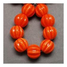 Porcelain Carved Round Beads 12 x 13mm Orange 10 Pcs Glazed Art Hobby Jewellery