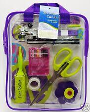 Sewing Repair Mend Kit Scissor Needle Thread Buttons Pins Purple Case Dritz New