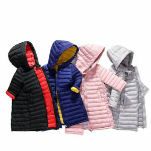 Kids Girls Coat Long Padded Down Quilted Jacket Puffer Hooded Warm Parka Winter