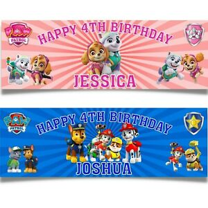 2 personalized paw patrol party birthday banner Boys Girls kids party decoration