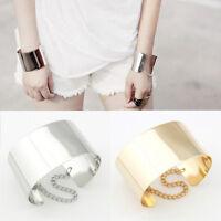 Punk Rock Chunky Gold/Silver Metallic Link Chain Wide Open Bangle Cuff Bracelet