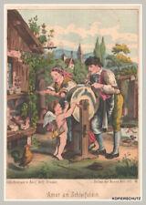 """Engel-Putte """"Amor am Schleifstein"""" ländliche Szene. Chromlithographie von 1873"""