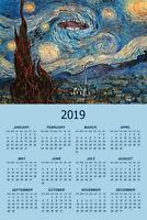 UFO Sighting On A Starry Night Vincent Van Gogh Art Poster Calendar 12x18