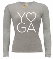 Ladies Yoga LOVE T-Shirt Workout Gym Fitness Long sleeve womens top gift