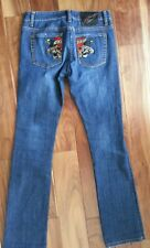 Ed Hardy Christian Audigier embroidered tattoo denim jeans pants size 26