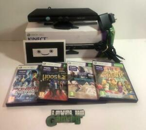 Boxed Microsoft Xbox 360 Kinect Sensor Black Complete With PSU & Top 4 Games