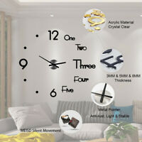 2020 Modern Large Wall Clock 3D Mirror Sticker Unique Big Number Watch DIY Decor