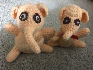 Vintage Stuffed Crocheted Animals-Handmade