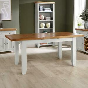 Modern Grey Painted Solid Wood Extending Adjustable Dining Table 140cm - 180cm