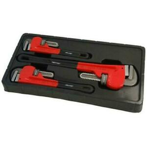 3pc Stilsons Pipe Wrench Adjustable Tool Set Monkey Wrench Mechanics Pliers 2106