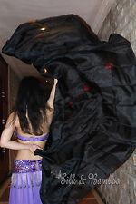 "plain black 3yd*45"" belly dance silk veil+bag, light 5mm silk, edges rolled"