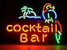 """New Cocktail Bar Parrot Palm Tree Beer Neon Sign 17""""x14"""""""