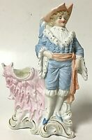 Vintage Bisque Porcelain Colonial Man In Blue Bud Vase Flower Holder