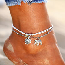 Elephant Ankle Bracelet Women Silver Anklet Foot String Jewelry Chain Beach Boho