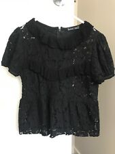 Zara Short Sleeve Black Lace And Ruffle Blouse Top Size S