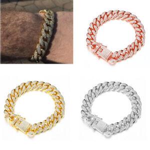Women Men Fashion Bracelet Inlaid Rhinestone Link Chain Cuban Bracelet Hip Hop