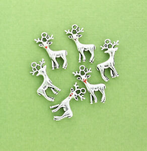 BULK 20 Reindeer Charms Silver Tone 2 Sided with Red Nose - SC2719