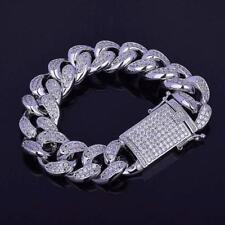 14K White Gold Over 4.70Ct Round Cut Diamond Cuban Link Men's Bracelet