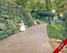 SEATED MOTHER & YOUNG GIRL ON A SHADY GARDEN PATH PAINTING ART REAL CANVAS PRINT