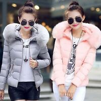 Womens Quilted Padded Down Cotton Parka Lady Short Fur Collar Hooded Coat Jacket