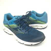 Men's Size 7.5 Mizuno Wave Inspire 15 Running Shoes - Navy/Light Blue/Lime - GUC