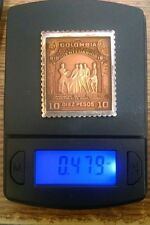 .925 Silver Colombia Diez Pesos Stamp Enamel 1810 1910 Centennial Independence