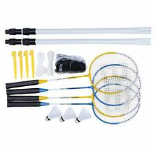 4x Players Badminton Rackets 2x Shuttlecocks & Carry Bag Complete Net Pole Set