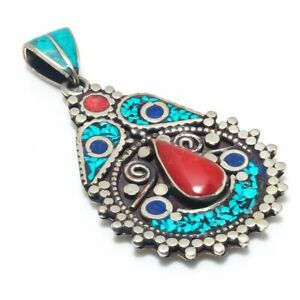 """Tibetan Turquoise, Coral Gemstone 925 Sterling Silver Jewelry Pendant 2.76"""" P777"""