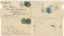 INDIA to ISLE of MAN 1884 + 1899 2 ENVELOPES POONA + BOMBAY to CORRIN CASTLETOWN
