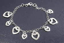 Italian Bracelet with 8 Heart Charms Sterling Silver 925 Jewelry Gift 7 inches