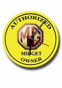 AUTHORIZED MG MIDGET OWNER ROUND METAL WALL CLOCK