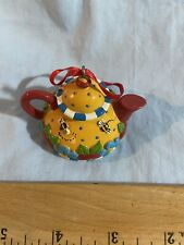 Vtg Mary Engelbreit Ink 1994 Christmas Corner Yellow Clay Teapot Ornament