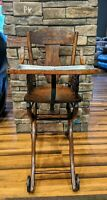 Antique Victorian Oak Convertible High Chair and Stroller   Original Leather