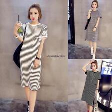 Korean Fashion Women Casual Loose Slim Striped Split Shift Tunic Shirt Top Dress