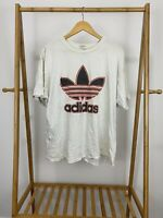 VTG Adidas 80s Big Trefoil Spellout Logo Single Stitch T-Shirt Size L